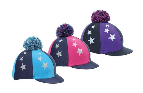 Shires Pom Pom Hat Cover with Stars - Navy and Turquoise | EQUUS