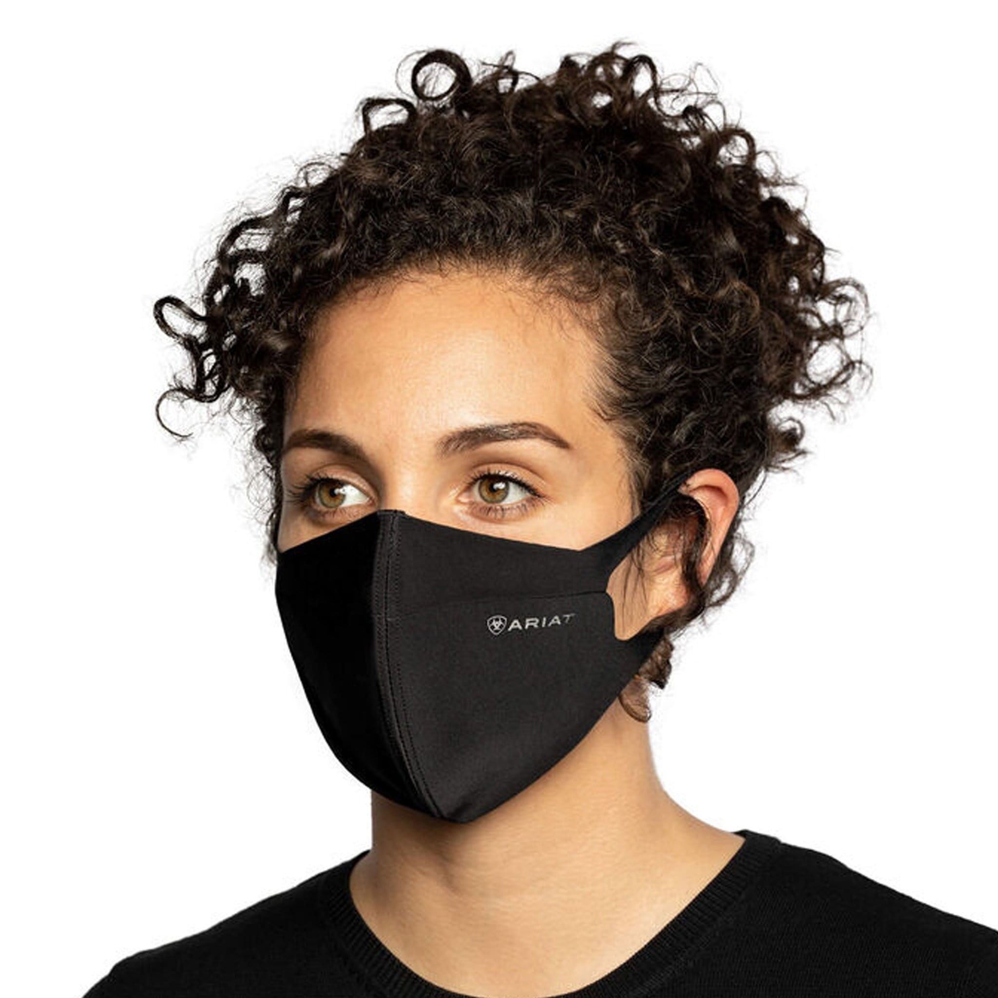 Ariat AriatTek Reusable Face Mask 10036632 Black On Model Front Angled View