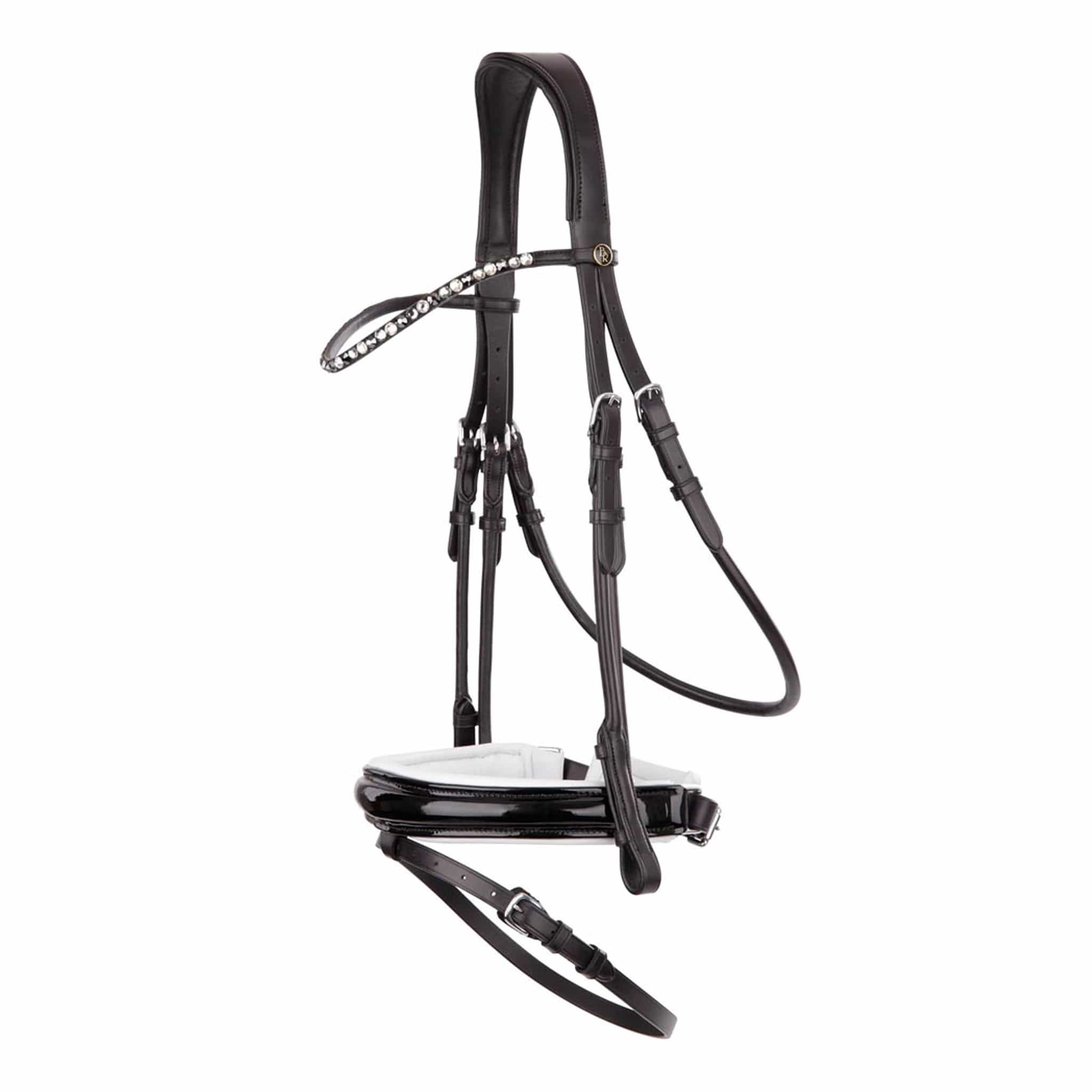 BR Equestrian Andover Bridle Black And White 180001.