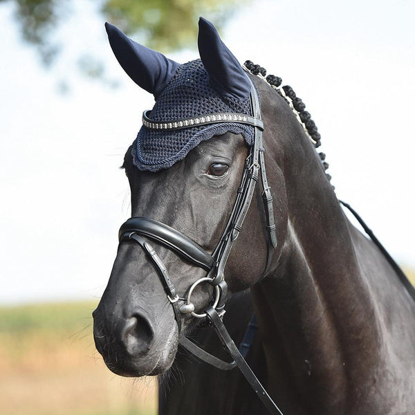 Busse All Round Uni Jersey Fly Veil in Navy worn by Horse 699912
