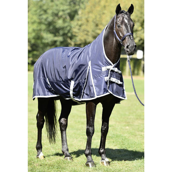 Busse Riga Light 100 Thermo Turnout Rug Navy Front View 603157