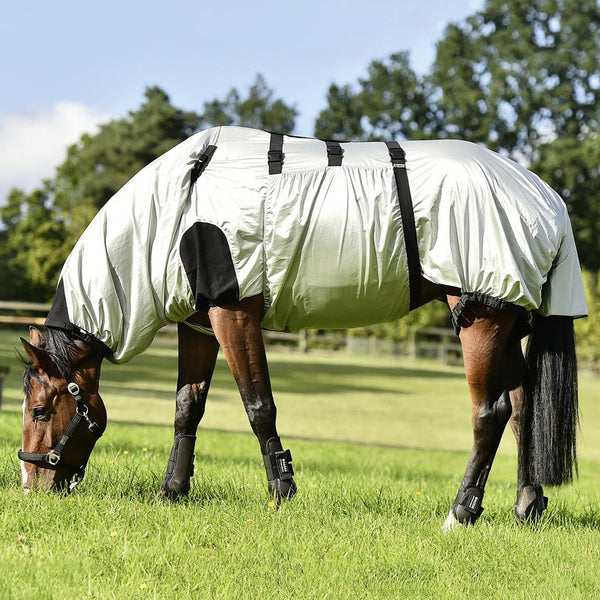 Busse Strong Eczema Rug Silver Grazing Horse Side View 603019