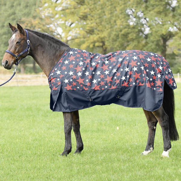 Busse Turn Fleece Turnout Rug Navy with Stars 603264