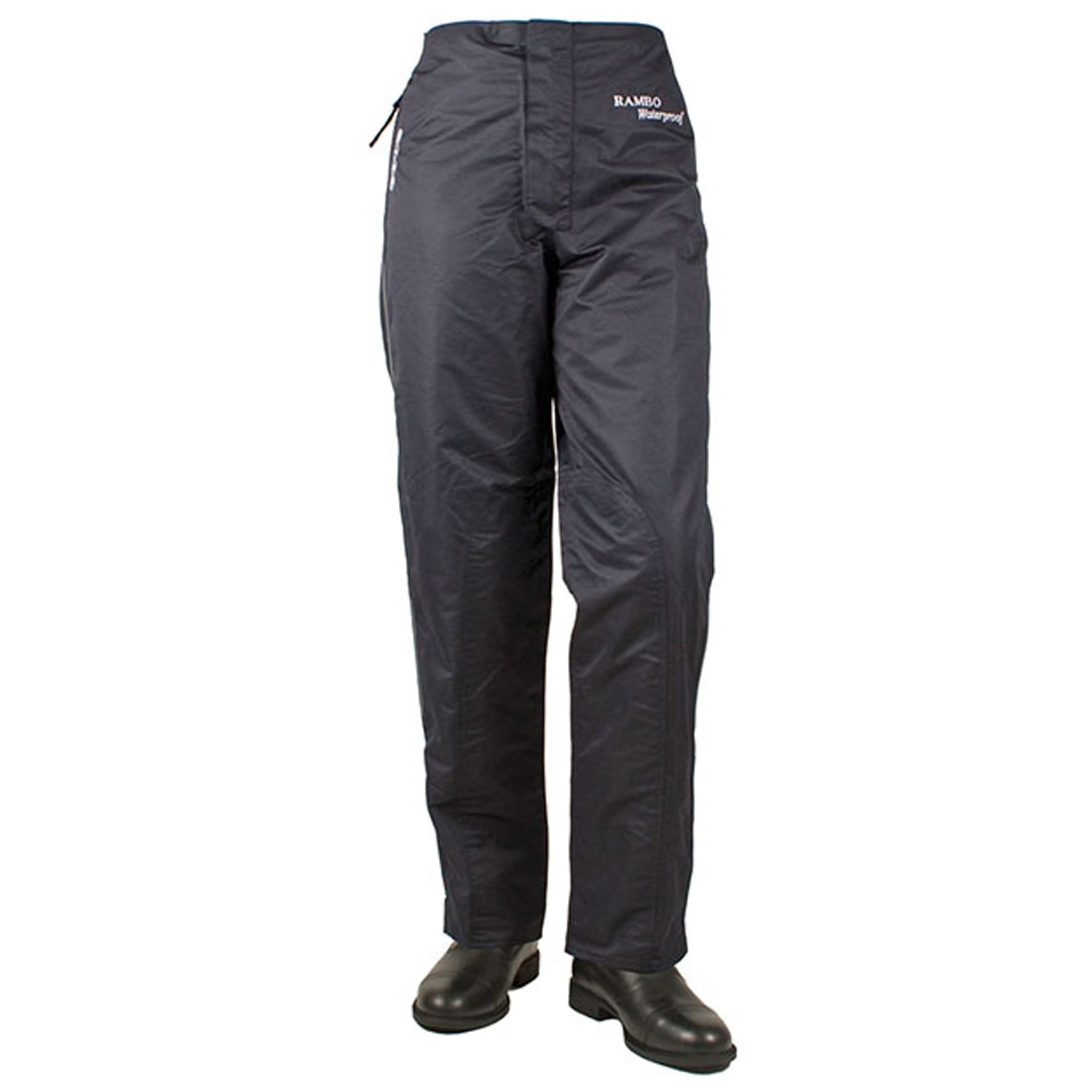 Horseware Rambo Lightweight Waterproof Pull Up Trousers Black Front CLAP00.