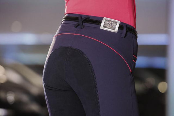 HKM Cavallino Marino Verona Ladies Pink Braid Breeches in Navy worn by Model Close Up