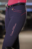 HKM Cavallino Marino Verona Ladies Pink Braid Breeches in Navy worn by Model Side View