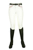 HKM Cavallino Marino Verona Ladies Pink Braid Breeches in White Front View