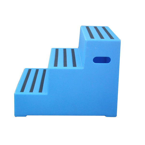 Classic Showjumps Premium Three Tread Mounting Block in Blue