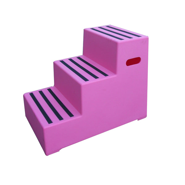 Classic Showjumps Premium Three Tread Mounting Block in Pink
