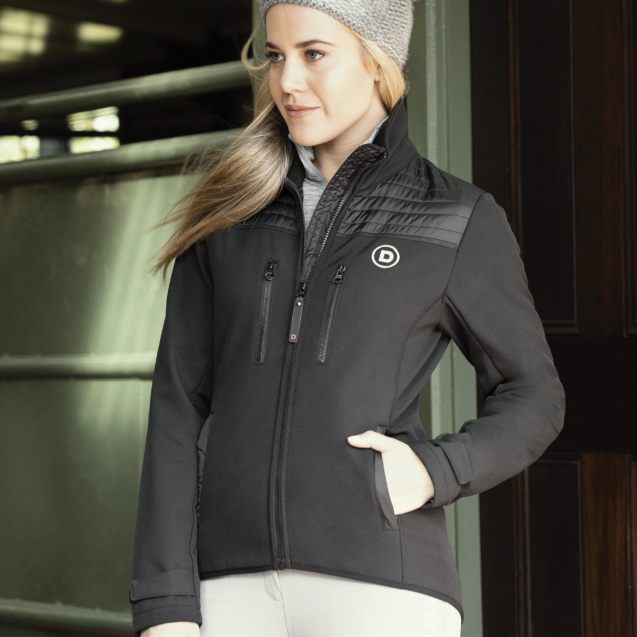 Dublin Zoe Soft Shell Jacket Front Black On Model Close Up 1000501001.