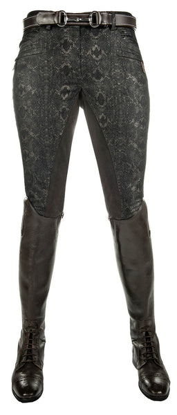 HKM Cavallino Marino Copper Kiss Alos Full Seat Breeches in Snake Print Front View