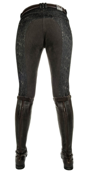 HKM Cavallino Marino Copper Kiss Alos Full Seat Breeches in Snake Print Rear View