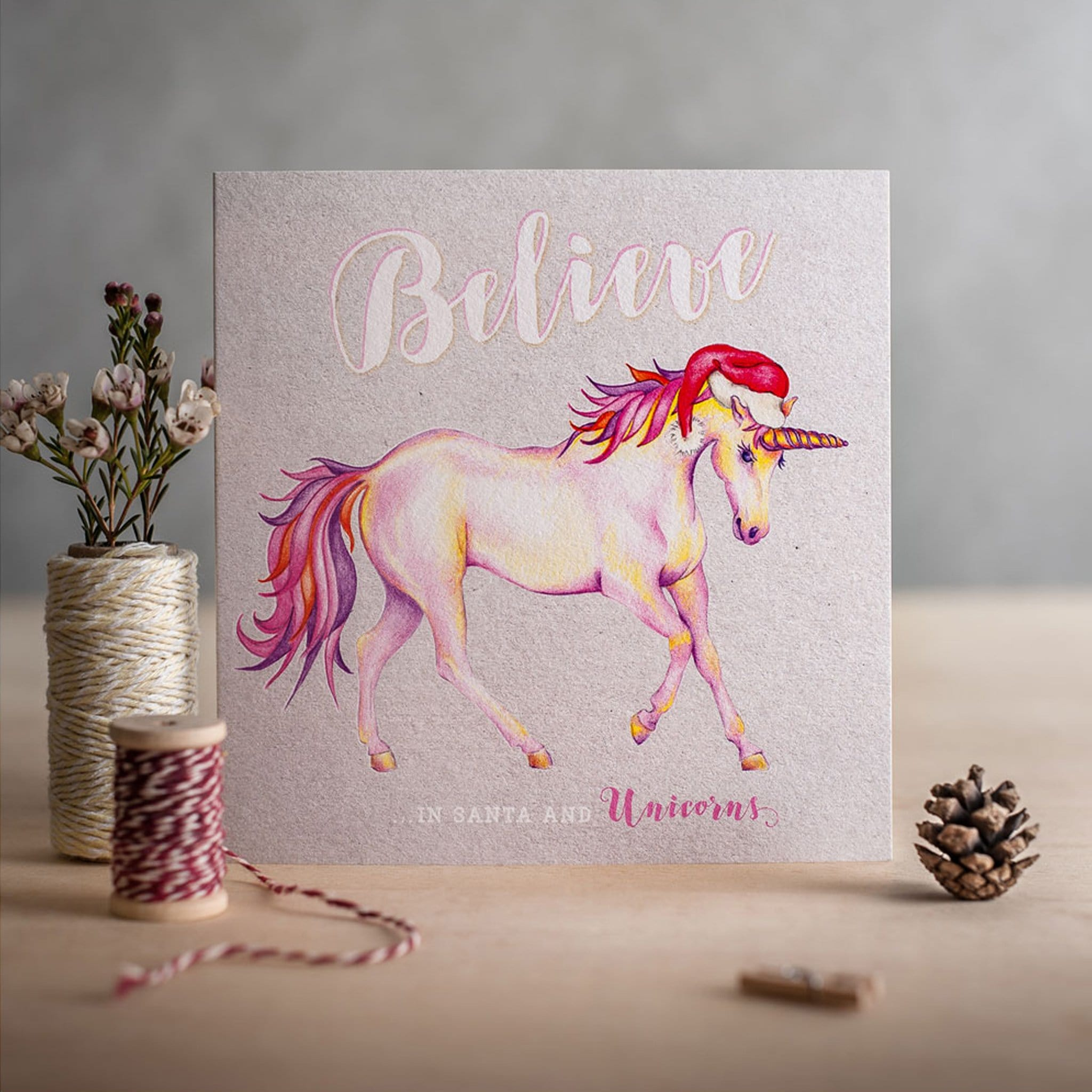 Deckled Edge Christmas Card Believe In Santa And Unicorns 21238