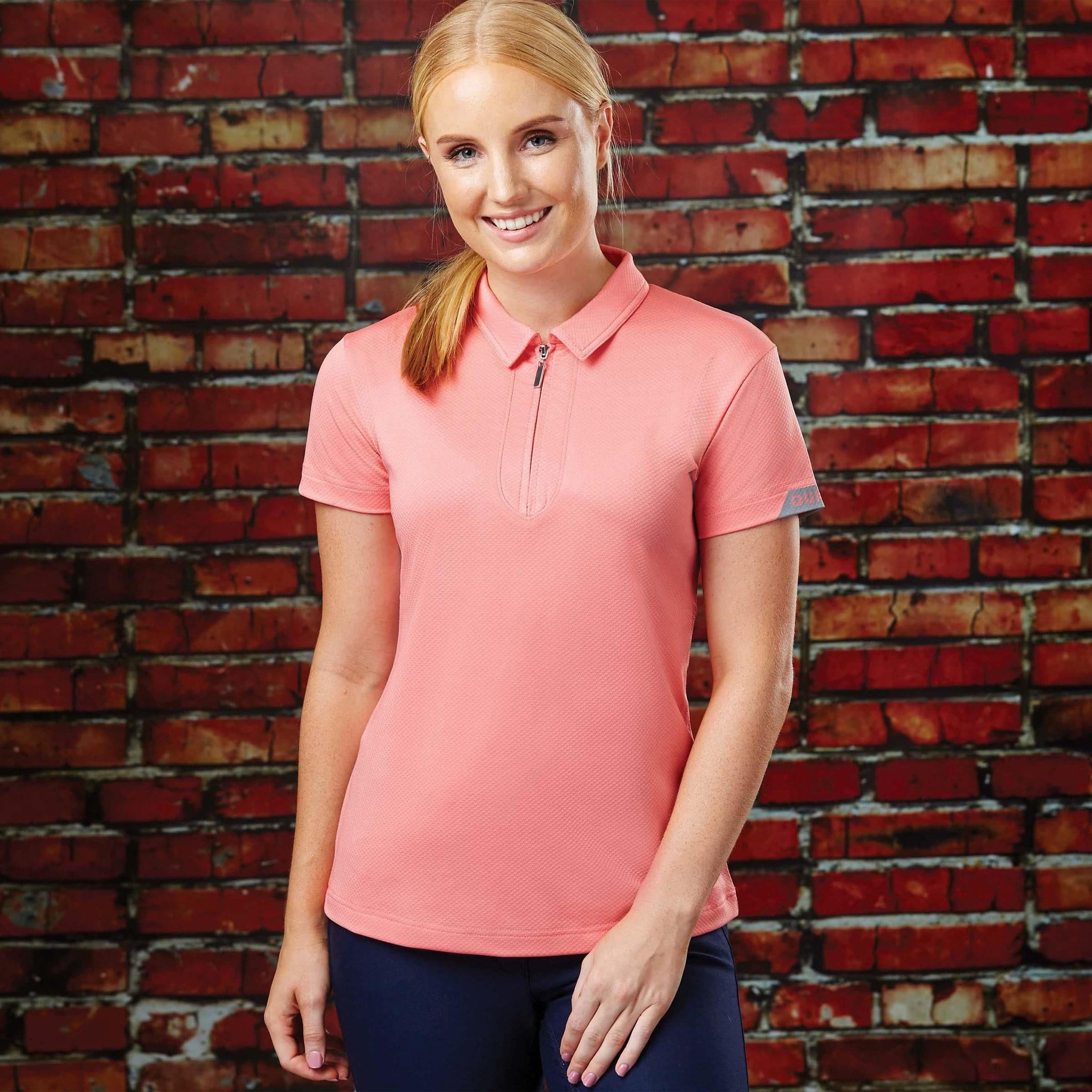 Dublin Columba Short Sleeve Tech Polo Top Pink On Model 813007