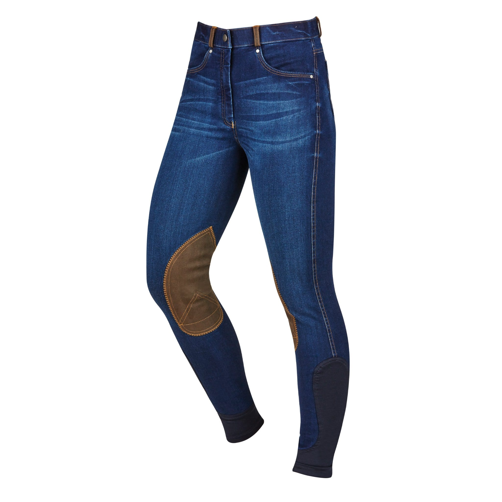 Dublin Shona Denim Alos Knee Patch Breeches Front 1000496002.