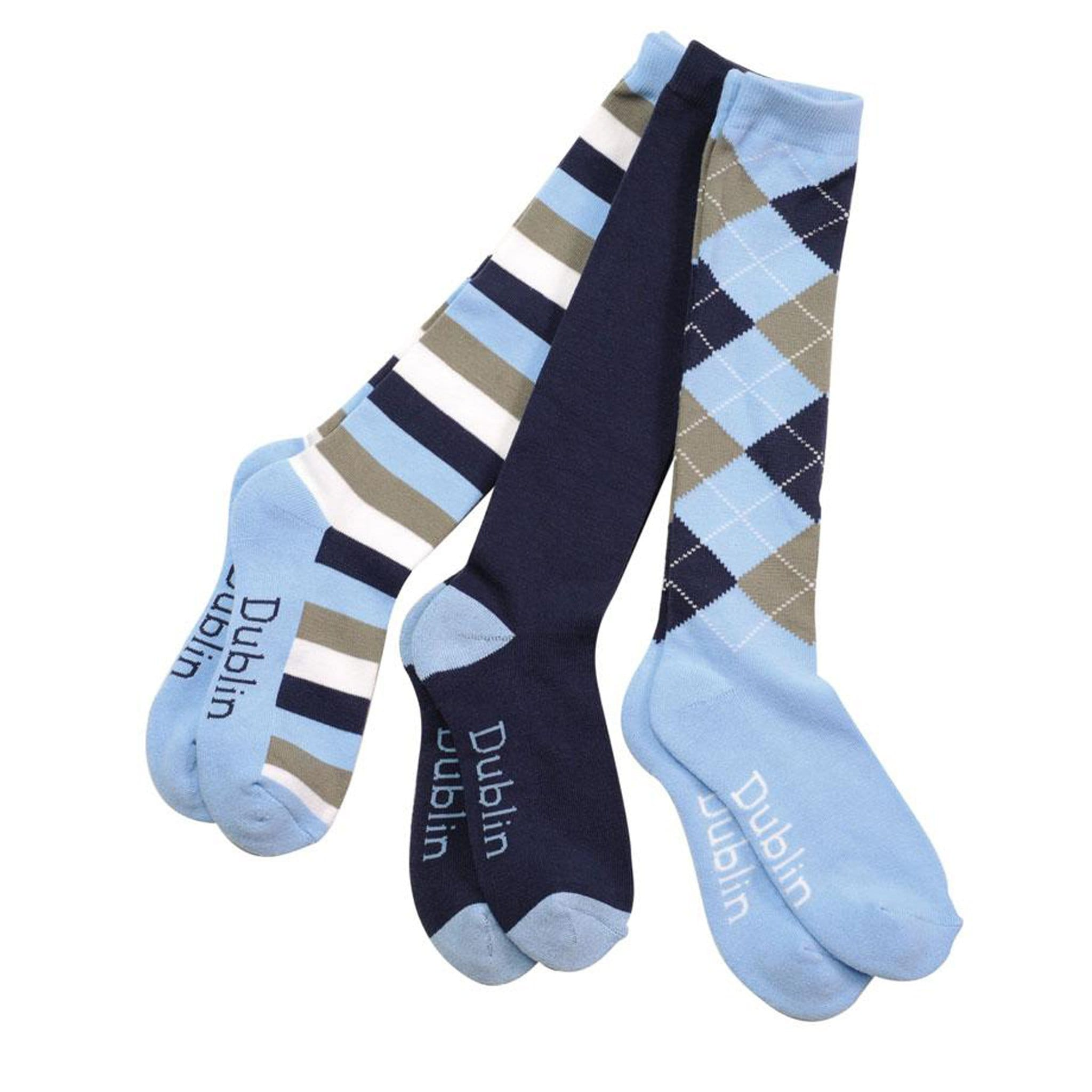 Dublin Riding Socks 3 Pack - Navy Grey Light Blue
