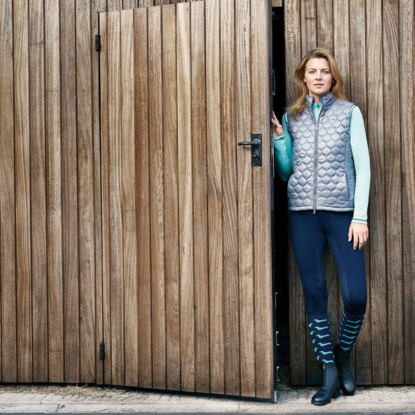Dublin Diamond Long Sleeve Top in Mint with Gilet 810294