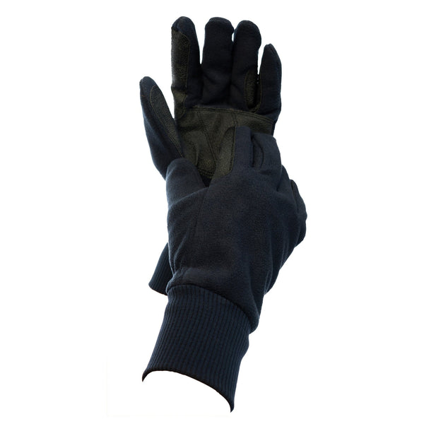 Dublin Everyday Showerproof Polar Fleece Riding Gloves Navy Two Hands