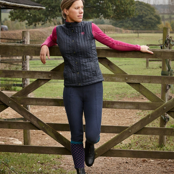 Dublin Performance Warm-It Gel Riding Tights in Navy worn by Rider
