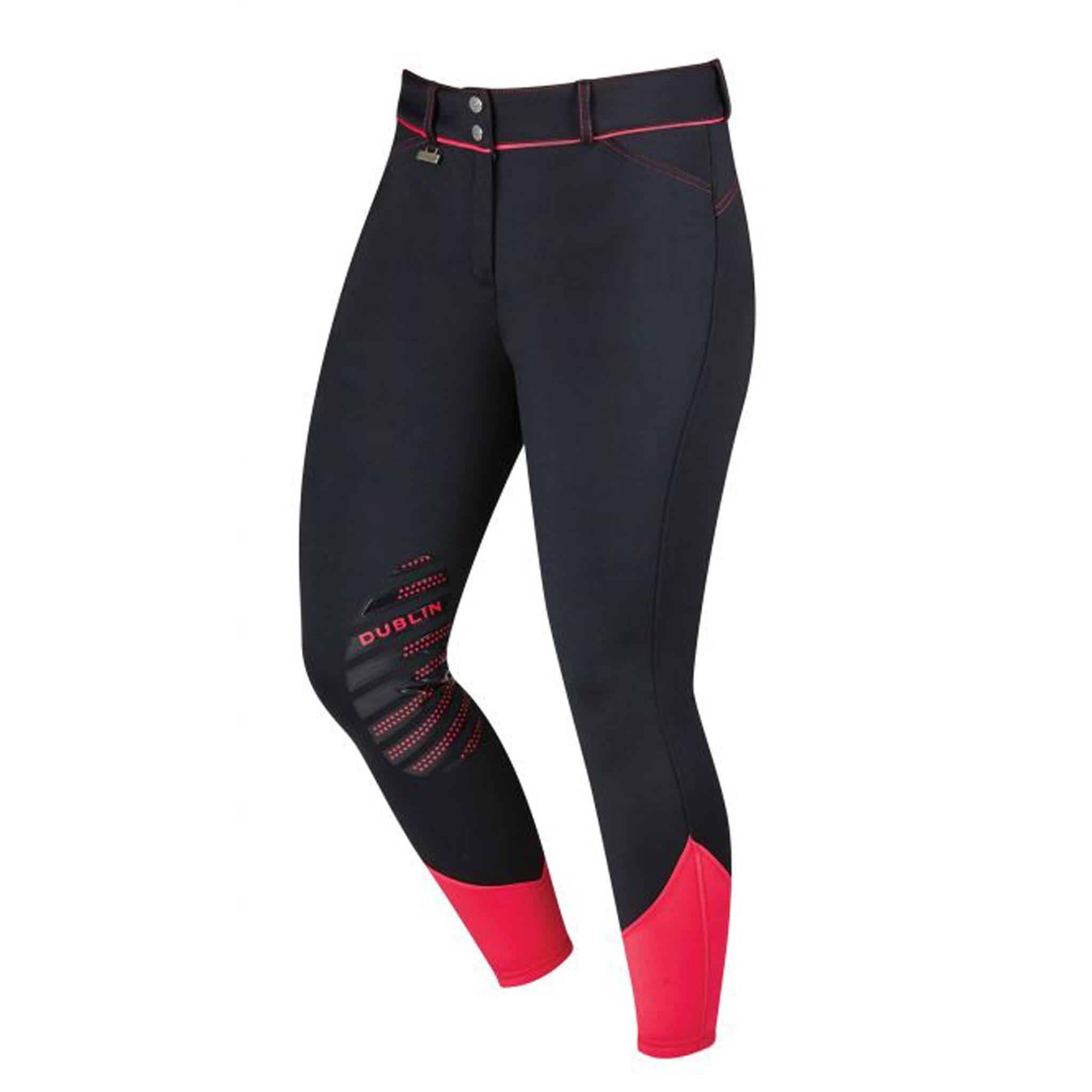 Dublin Thermal Gel Silicone Knee Patch Breeches Black/Pink Front