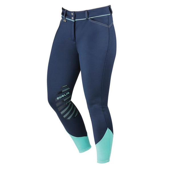 Dublin Thermal Gel Knee Patch Breeches Navy/Mint Front
