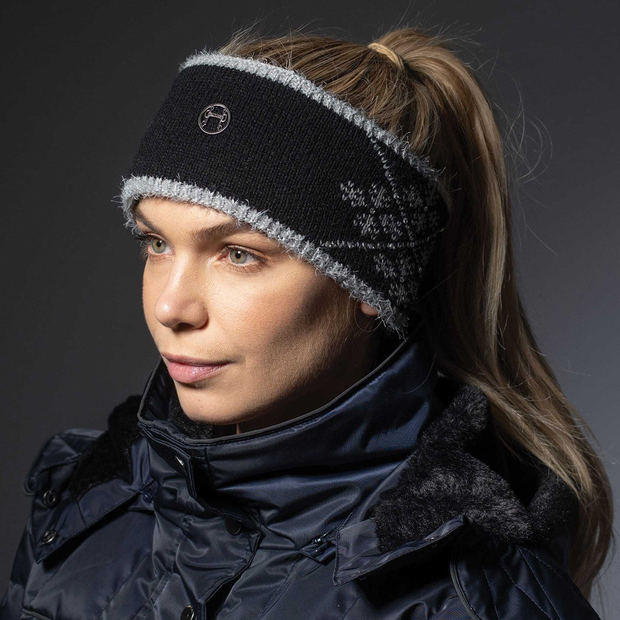 Equetech Crystal Knit Headband SCH Black On Model