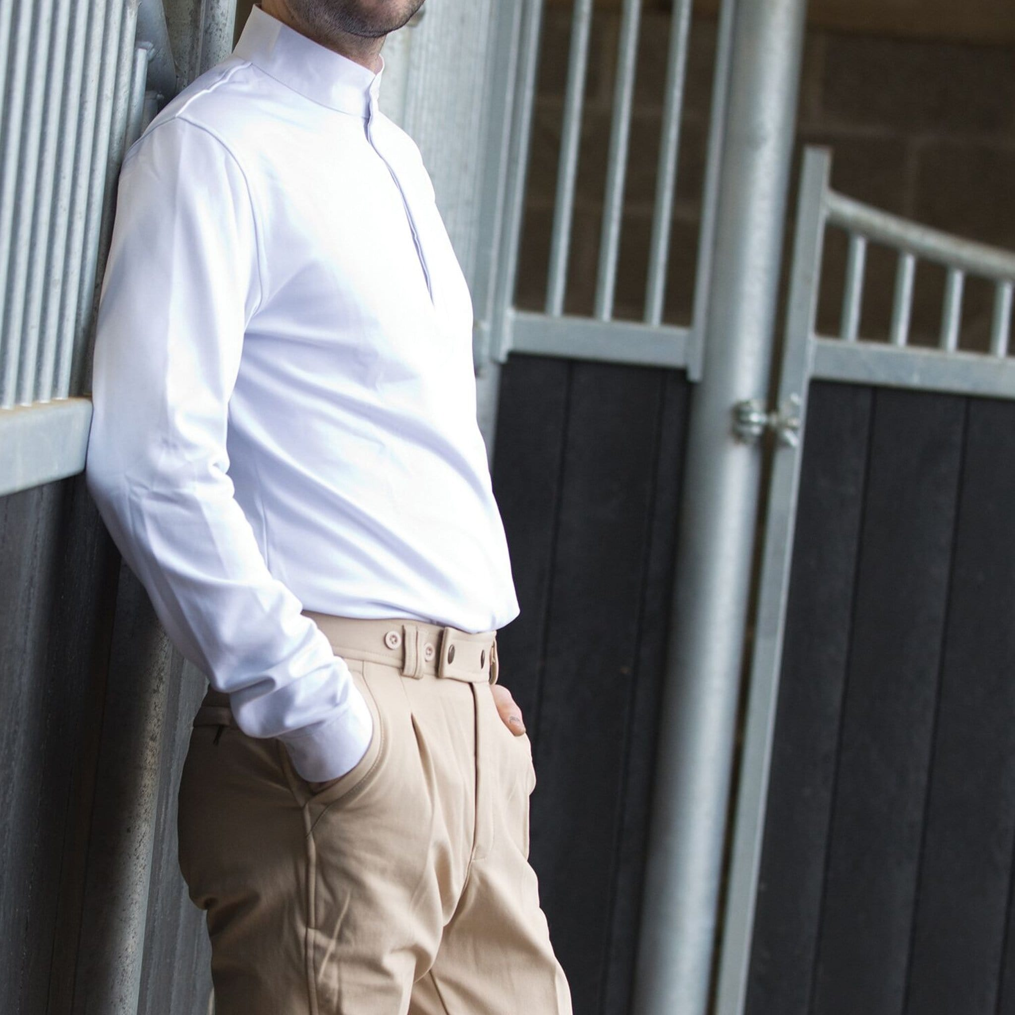 Equetech Men's Thermal Cosy Stock Shirt On Model MCS.