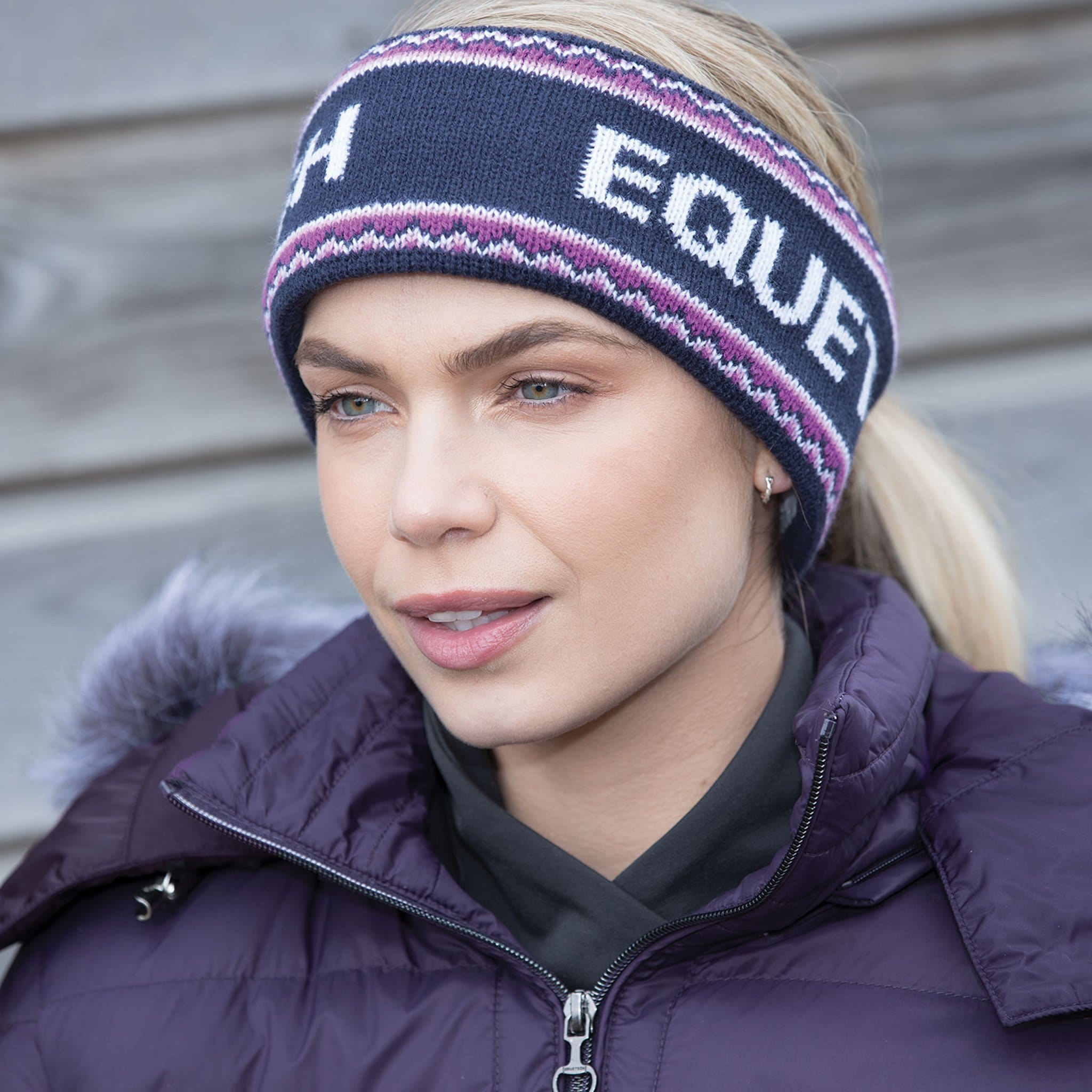 Equetech Signature Knit Headband On Model Outside SGH-1-NY.