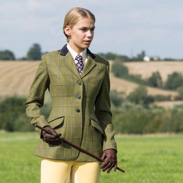 Equetech Adstock Deluxe Tweed Riding Jacket Close Up
