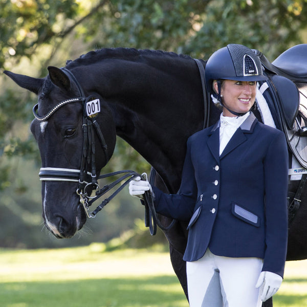Equetech Affinity Competition Jacket in Navy with horse AFJ