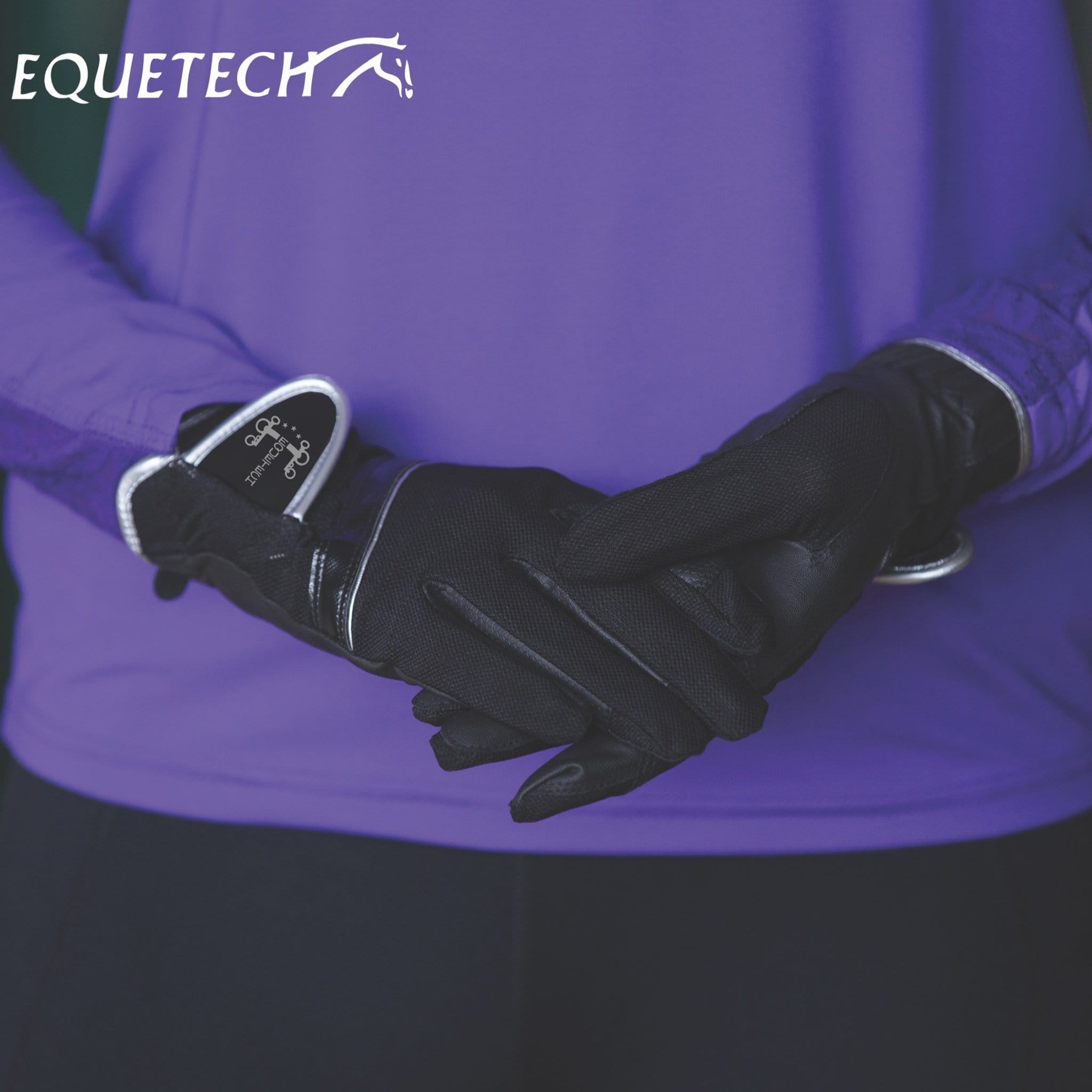 Equetech Airflex Sports Gloves in Black Lifestyle ALG