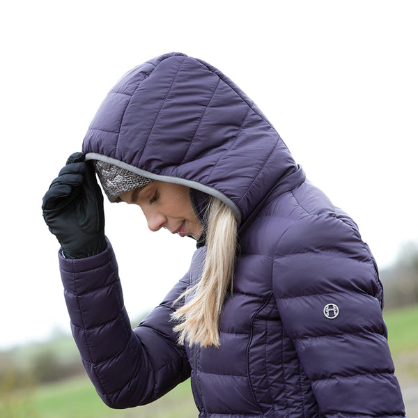 Equetech Chalgrove Micro Packable Jacket Blackberry Hood Up CMJ
