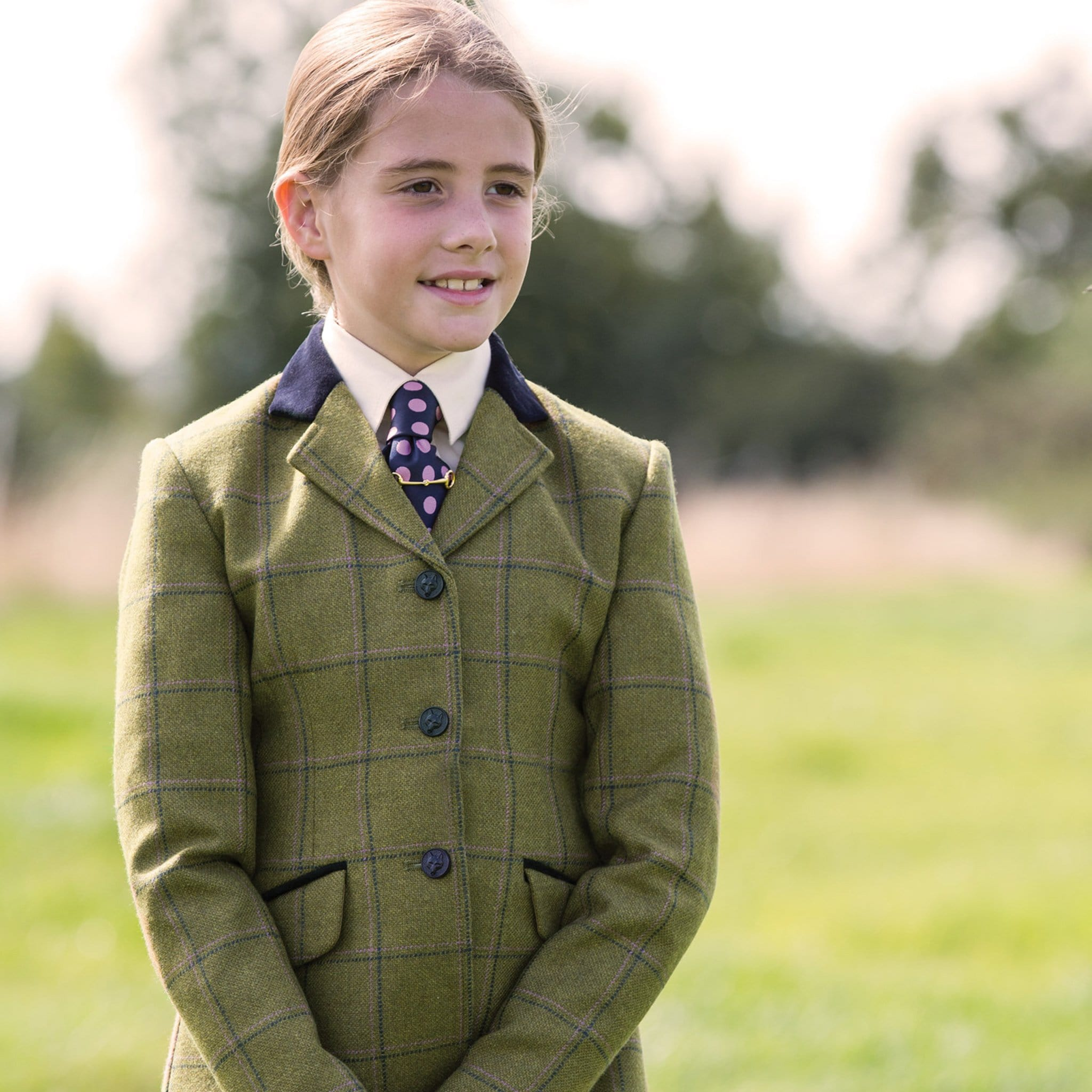 Equetech Junior Adstock Deluxe Tweed Riding Jacket Close Up