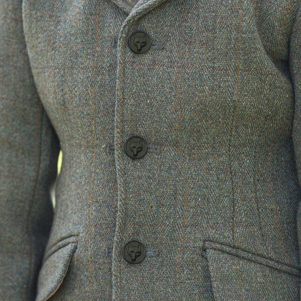 Equetech Junior Claydon Tweed Riding Jacket Close Up JCT