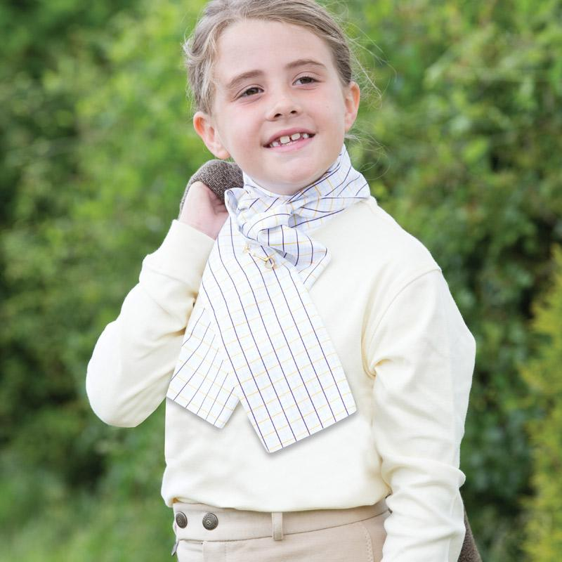 Equetech Children's Foxhunter Stock Long Sleeve Show Shirt On Model JFS