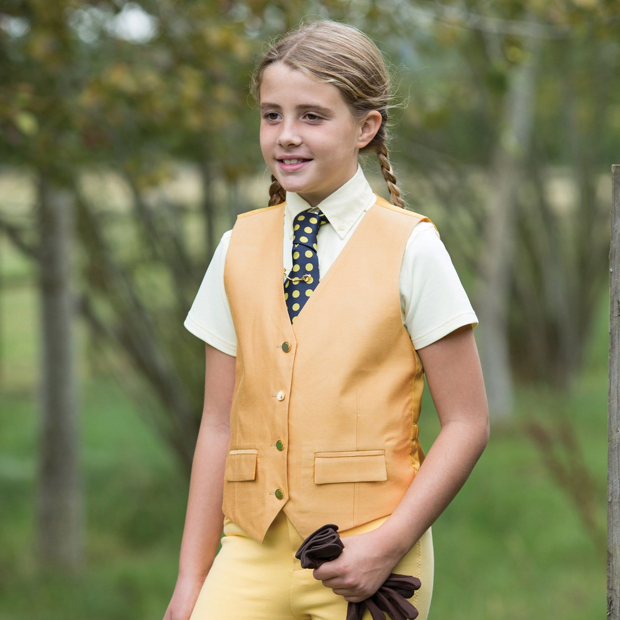 Equetech Junior Jacquard Classic Waistcoat Canary Lifestyle CJW