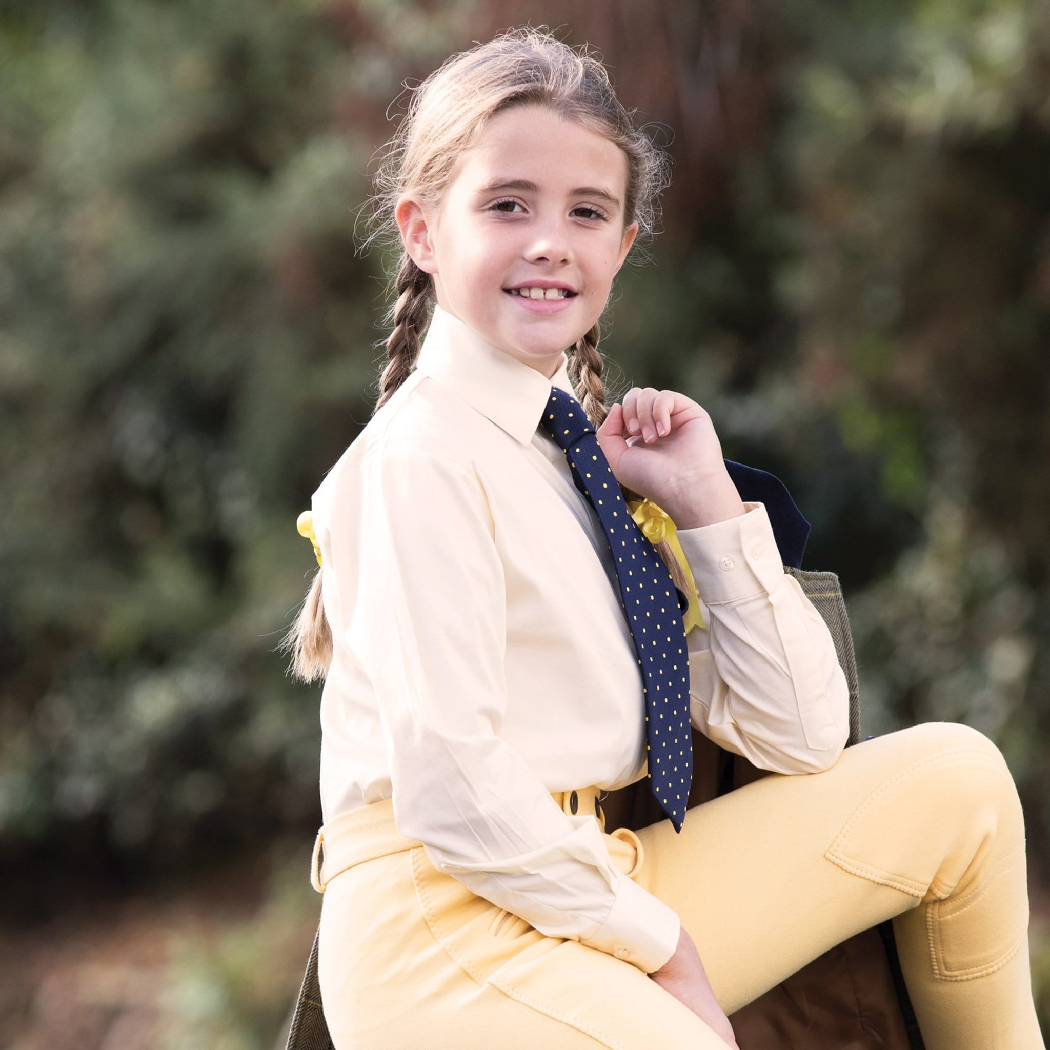 Equetech Children's Stretch Long Sleeve Show Shirt Soft Yellow Lifestyle  NJL