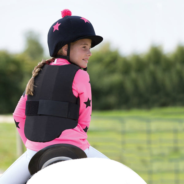 Equetech Junior XC Lycra Base in Hot Pink with Black Stars back JXB