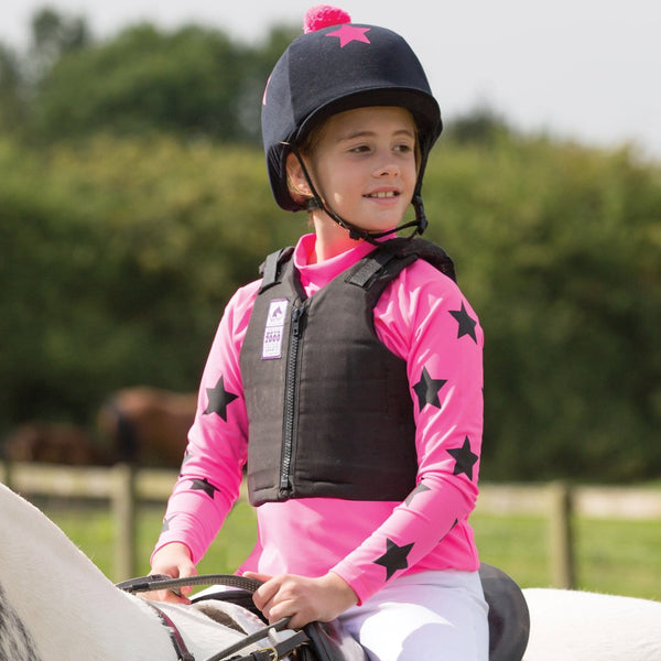Equetech Junior XC Lycra Base in Hot Pink with Black Stars front JXB