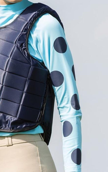 Equetech Junior XC Lycra Base in Light Blue with Navy Spots JXB