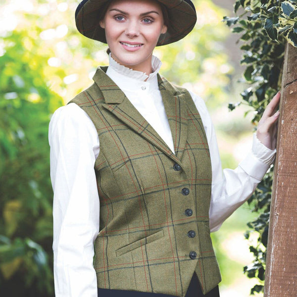 Equetech Launton Deluxe Tweed Lapel Waistcoat Close Up LSW