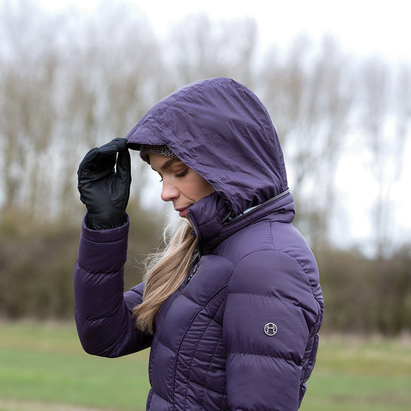 Equetech Lexi Long Packable Coat Hood Side View Blackberry LPC