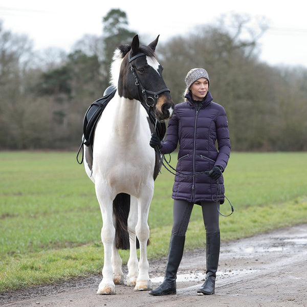 Equetech Lexi Long Packable Coat with Horse Blackberry LPC