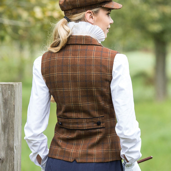 Equetech Marlow Deluxe Tweed Lapel Waistcoat Rear View MTW