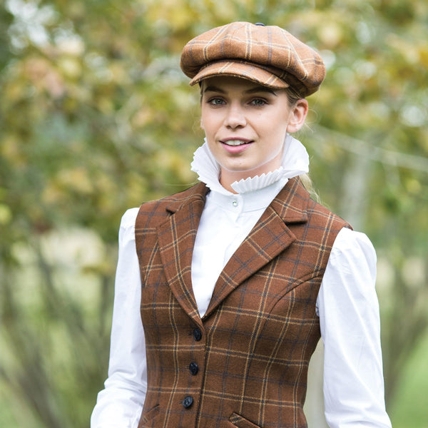 Equetech Marlow Tweed Baker Boy Cap Front View MFC