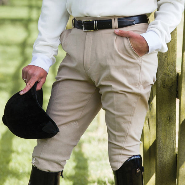 Equetech Men's Foxhunter Hybrid Breeches in beige lifestyle close up FOB BE