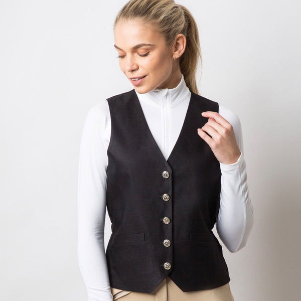 Equetech Quantum Dressage Waistcoat Black Studio Close Up QDW