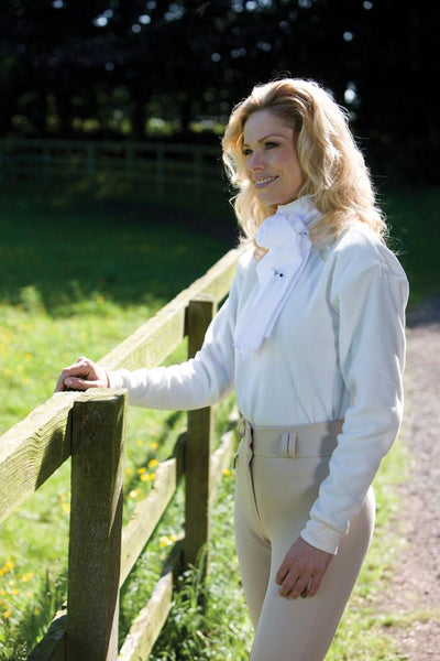 Equetech Stag Micro Fleece Stock Shirt worn by a Woman