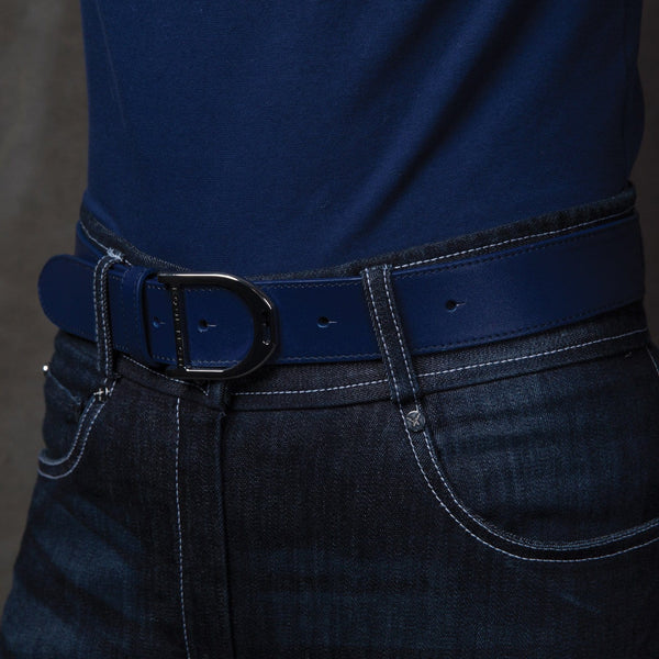 Equetech Stirrup Leather Belt in Blue worn by Rider