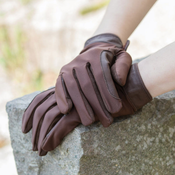 Equetech Stretch Show Gloves in Brown LCG